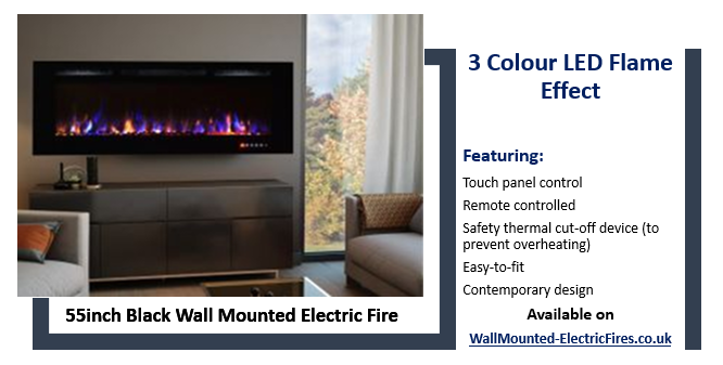 50 inch wall mounted black glass LED electric fire