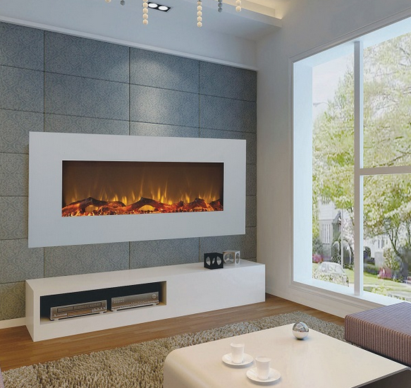 large 50 inch white wall hung electric fire