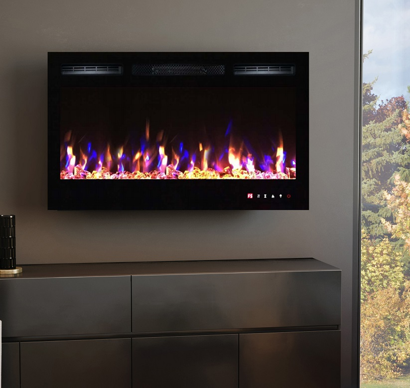 36inch Inset TruFlame Black Wall Mounted Electric Fire with 3 colour Flames