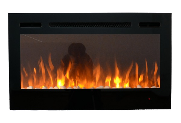 36inch Inset TruFlame Black Wall Mounted Electric Fire with 3 colour Flames Orange Flames