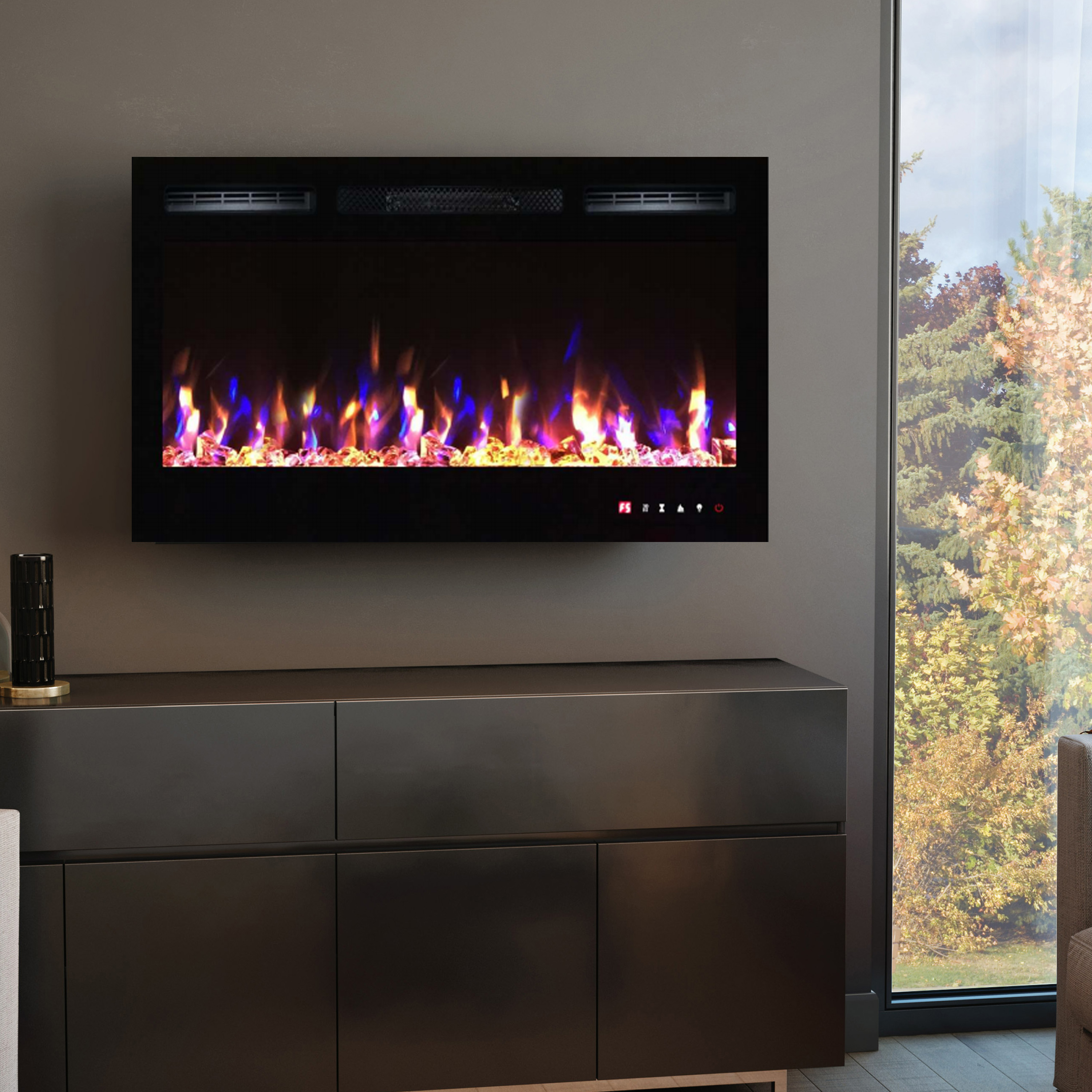 36 inch large wall mounted electric fire