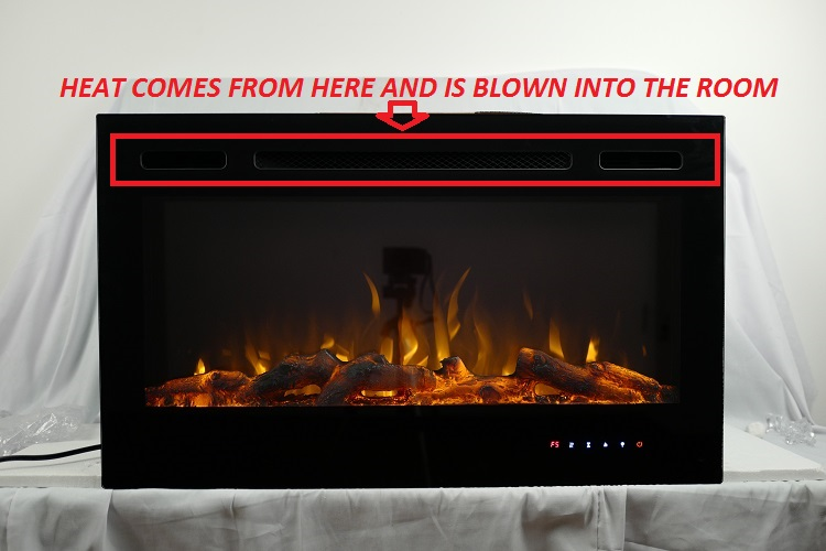 36inch Inset TruFlame Black Wall Mounted Electric Fire with 3 colour Flames Heat Direction