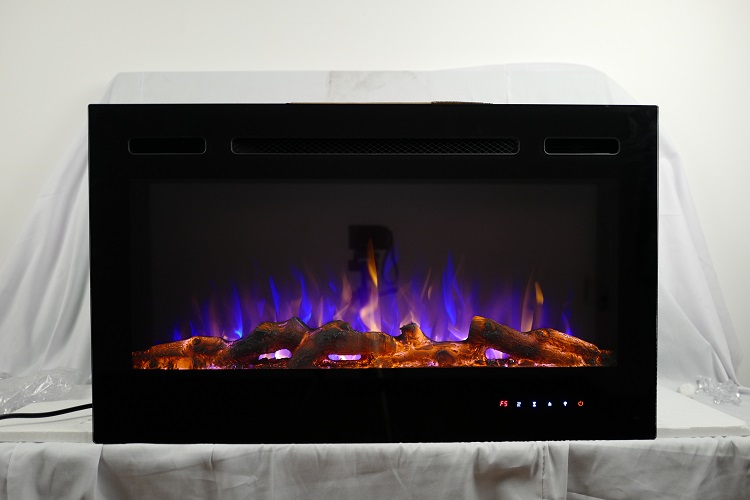 36inch Inset TruFlame Black Wall Mounted Electric Fire with 3 colour Flames Purple Flames