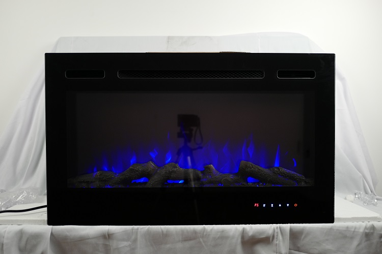 36inch Inset TruFlame Black Wall Mounted Electric Fire with Logs and Blue Flames