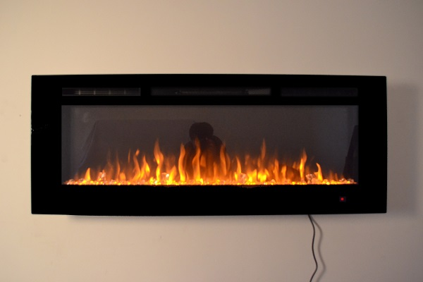 50inch Black Wall Mounted Electric Fire with 3 colour Flames crystals orange flames