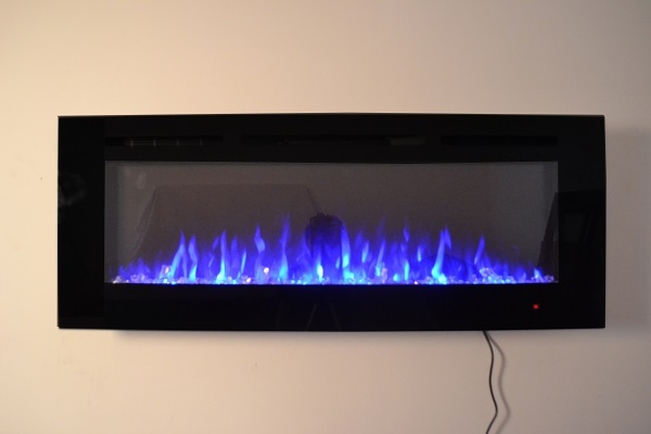 50inch Black Wall Mounted Electric Fire with 3 colour Flames crystals blue flames