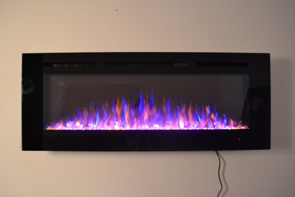 50inch Black Wall Mounted Electric Fire with 3 colour Flames crystals purple flames
