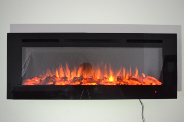 50inch Black Wall Mounted Electric Fire with 3 colour Flames logs orange flames