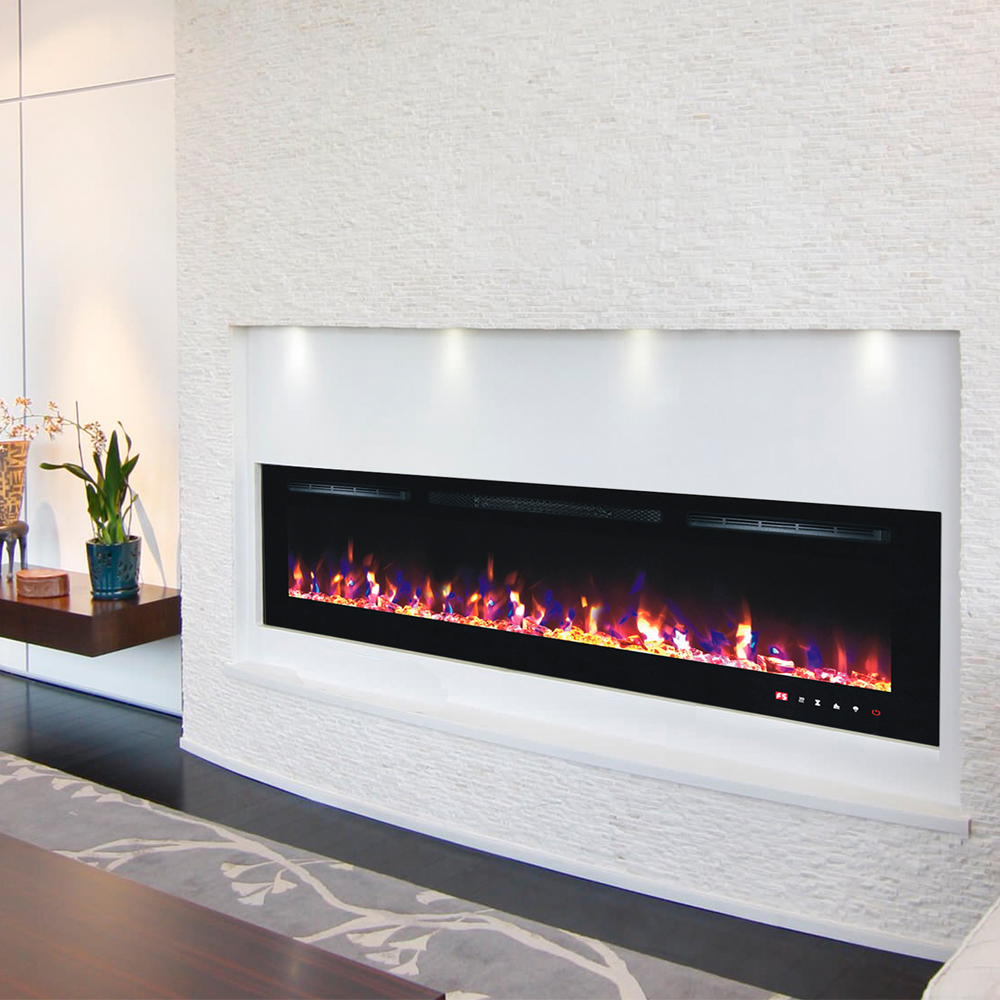 2019 New Premium Product 72inch Black Wall Mounted Electric Fire