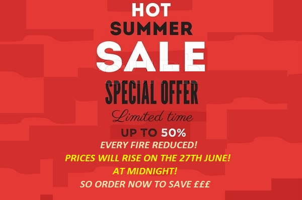 Wall mounted electric fire store summer sale banner