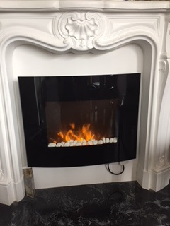 TruFlame LED Side Lit small Wall Mounted Arched Glass Electric Fire with Pebble Effect