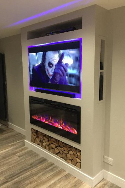 Inset wall mounted electric fireplace