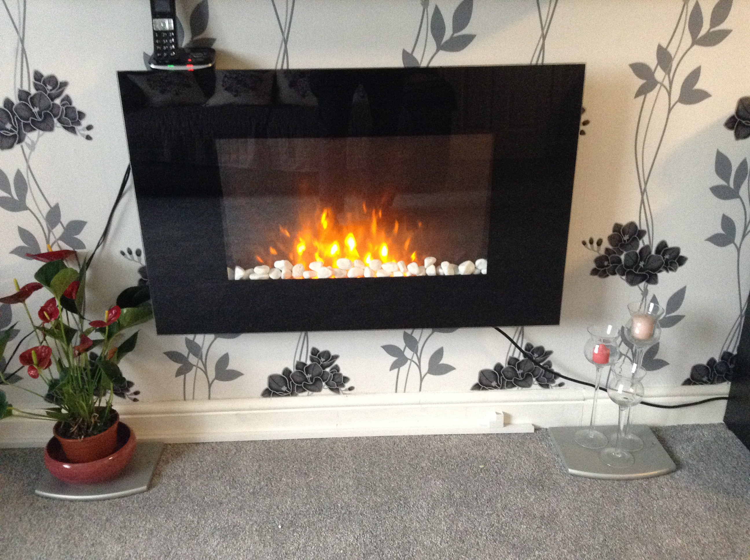 wall hung electric fire from customer