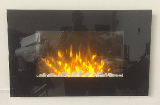 TruFlame Wall Mounted Flat Glass Electric Fire with Pebble Effect (90cm wide square corners)