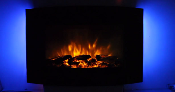 TruFlame Wall Mounted Arched Glass Electric Fire with Log Effect Blue LEDs