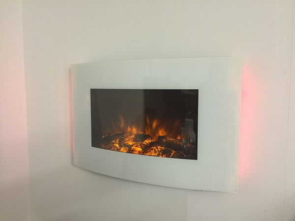 2018 New Truflame Wall Mounted Arched White Glass Electric