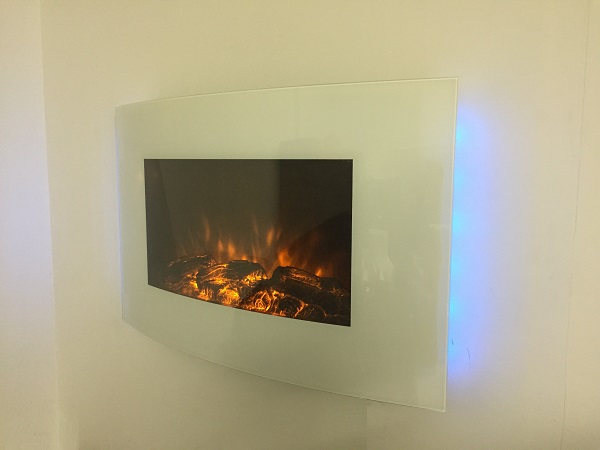 TruFlame 7 colour Side LEDs Wall Mounted Arched White Glass Electric Fire with Log Effect