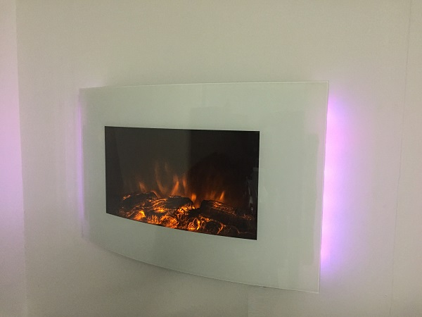 TruFlame 7 colour Side LEDs Wall Mounted Arched White Glass Electric Fire with Log Effect Pink sides