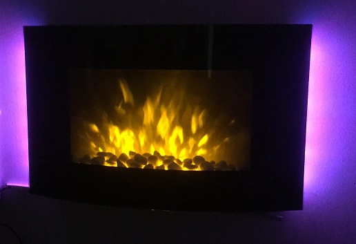 2018 NEW TruFlame 7 colour Side LEDs Wall Mounted Arched Glass Electric Fire with Pebble Effect purple colours