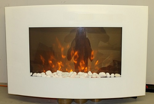 large white wall mounted electric fire with pebbles truflame effect