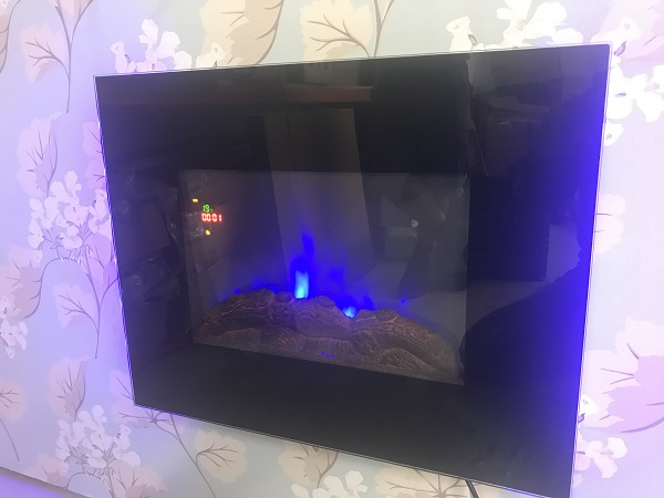 TruFlame LED Side Lit (7 colours) Wall Mounted Flat Glass Electric Fire with Log and Pebble Effect flame colour 2