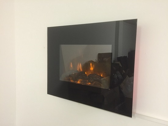TruFlame LED Side Lit (7 colours) Wall Mounted Flat Glass Electric Fire with Log and Pebble Effect red side leds