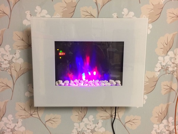 TruFlame LED Side Lit (7 colours) Wall Mounted Flat White Glass Electric Fire with Log and Pebble Effect showing truflame effect colour 1