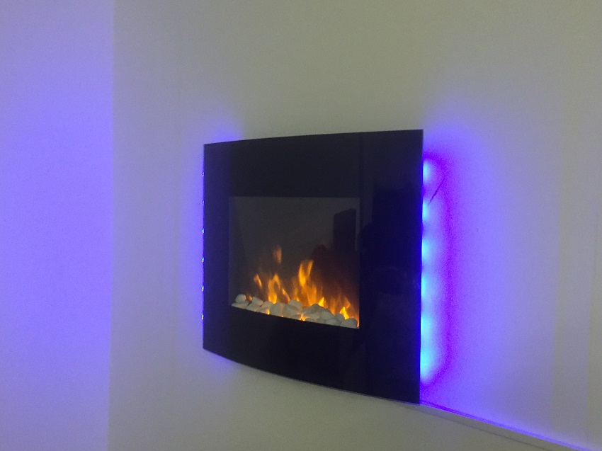 TruFlame LED Side Lit (7 colours) Wall Mounted Arched Glass Electric Fire with Pebble Effect blue side leds