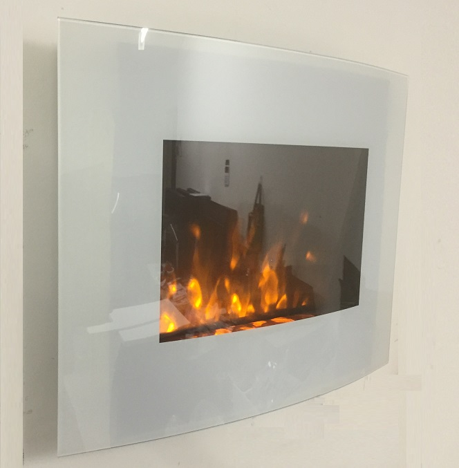 2019 New Truflame Wall Mounted Arched White Glass Electric