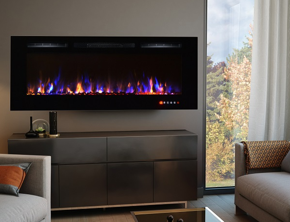 Black wall mounted electric fire premium fire which can be inset or wall hung