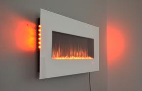 white wall mounted electric fire with side LEDs and truflame effect