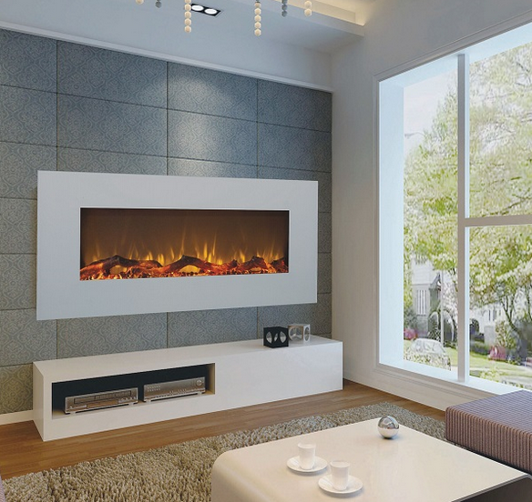50 inch wall mounted electirc fire with white glass