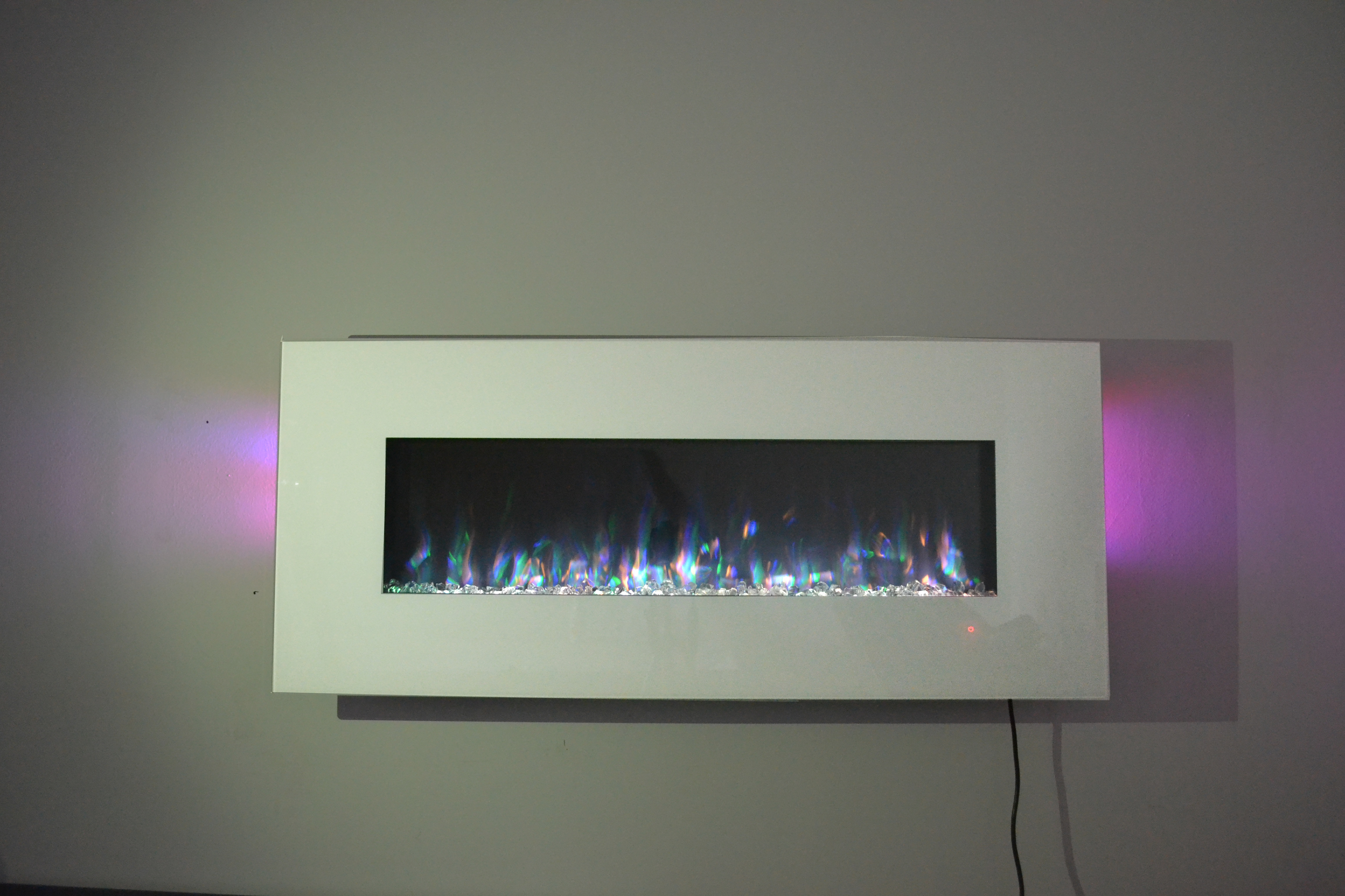 50 inch large white wall mounted electric fire
