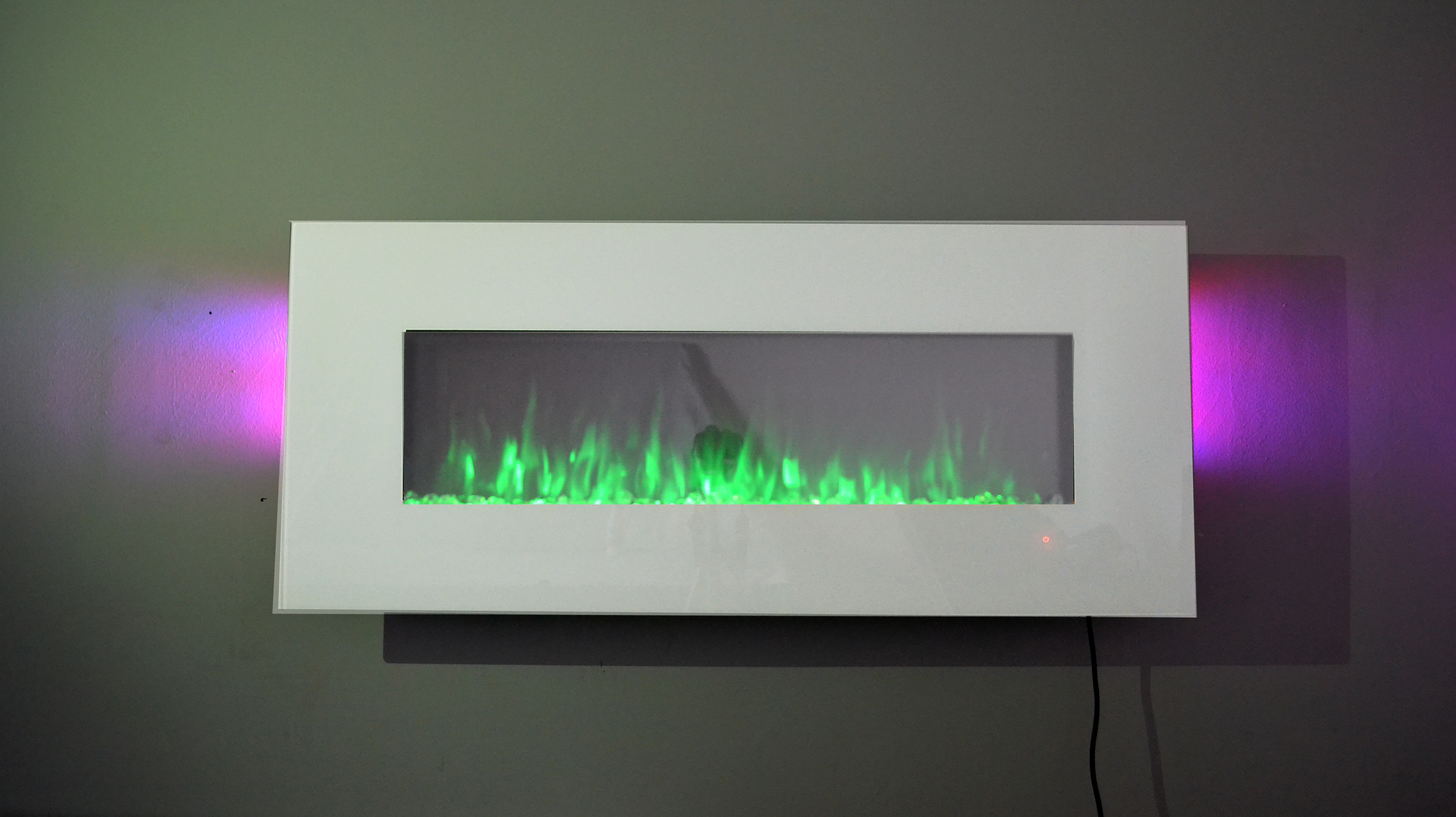 50 inch white glass wall hung electric LED fire with TruFlame