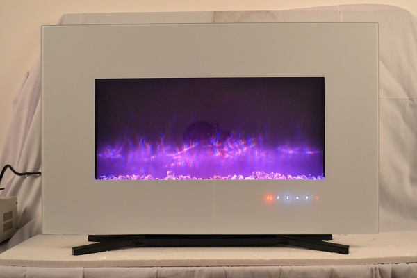 TruFlame 90cm White Wall Mounted Electric Fire with purple flames and crystals
