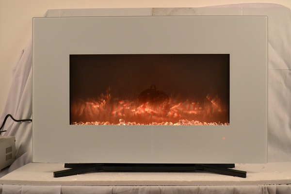 TruFlame 90cm White Wall Mounted Electric Fire with light orange flames and crystals