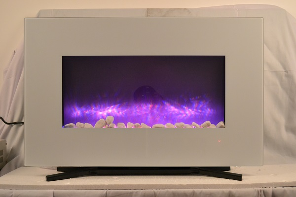 TruFlame 90cm White Wall Mounted Electric Fire with purple flames and pebbles