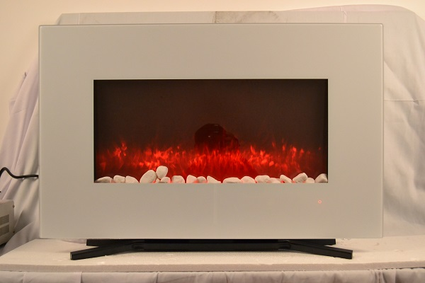 TruFlame 90cm White Wall Mounted Electric Fire with orange flames and pebbles