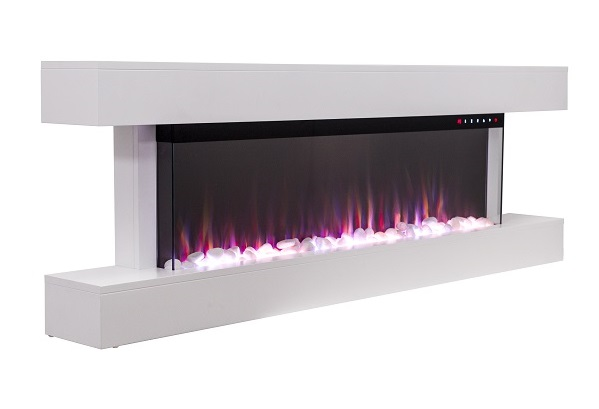 White 60 inch electric wall mounted fire with mantel