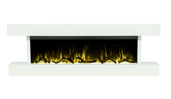 60 Inch White Wall Mounted Electric Fire with 10 colours flames and Stunning White Mantel