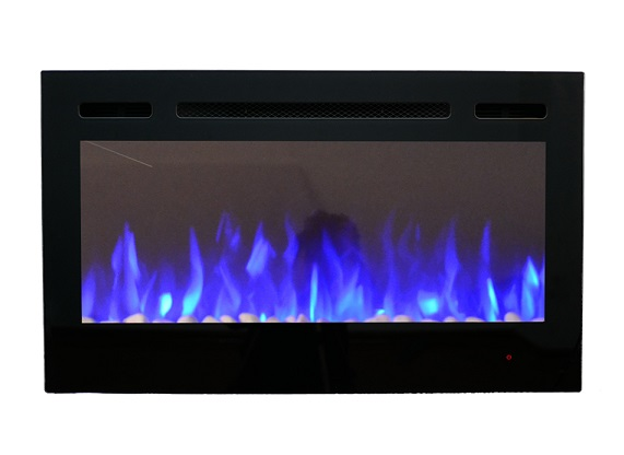 36inch Inset TruFlame Black Wall Mounted Electric Fire with 3 colour Flames Blue