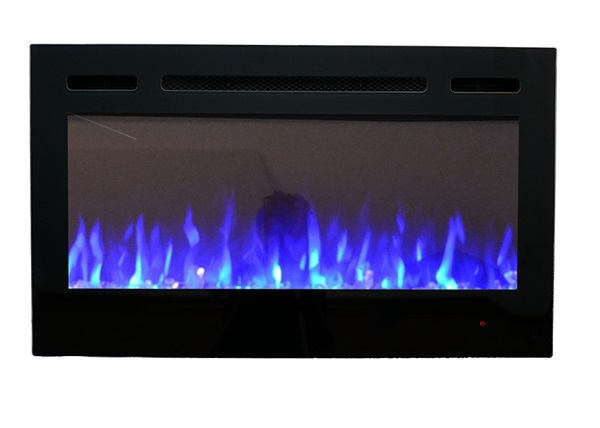 36inch Inset TruFlame Black Wall Mounted Electric Fire with crystals and blue flames