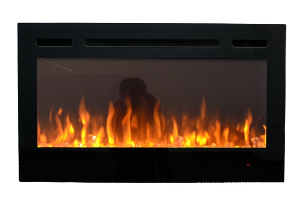 36inch Inset TruFlame Black Wall Mounted Electric Fire with crystals and orange flames