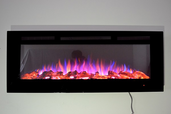 50inch Black Wall Mounted Electric Fire with 3 colour Flames logs purple flames