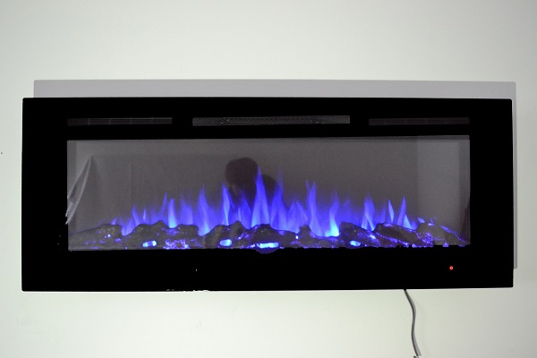 50inch Black Wall Mounted Electric Fire with 3 colour Flames logs blue flames