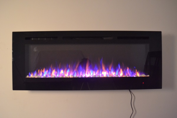 72inch large Black Wall Mounted Electric Fire with 3 colour Flames and can be inset pebbles and purple flames