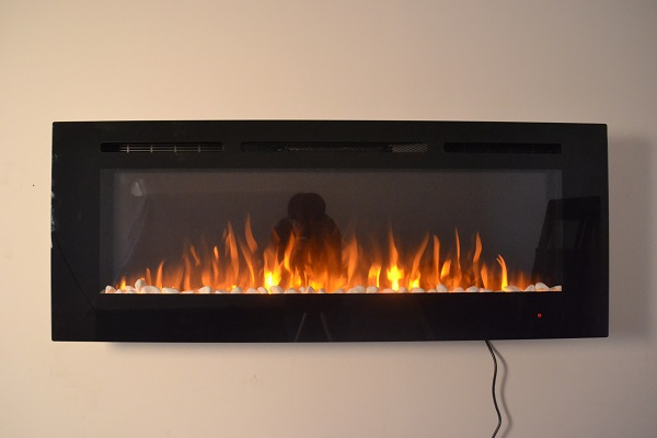 50inch Black Wall Mounted Electric Fire with 3 colour Flames pebbles orange flames