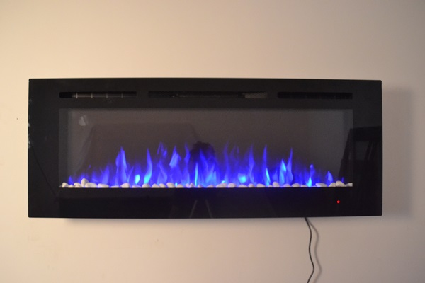 72inch large Black Wall Mounted Electric Fire with 3 colour Flames and can be inset pebbles and blue flames