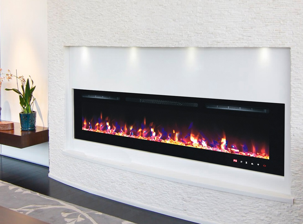 72inch Black Wall Mounted Electric Fire with 3 colour Flames and can be inserted