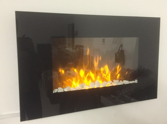 TruFlame Wall Mounted Flat Glass Electric Fire with Pebble Effect (90cm wide square corners) side view